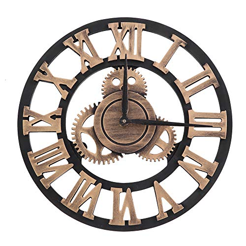 Jarchii Orologio da Parete Vintage, Orologio da Parete Artigianale 3D Grande ingranaggio Rustico Orologi da Parete retrò Decorazioni Vintage in Legno a Batteria per Soggiorno Cucina Ufficio(#2)