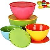 Set da 4 ciotole per insalata con coperchio salvafreschezza ✔ lavabili in lavastoviglie ✔ utilizzabili in microonde ✔ con tappo proteggi-aroma ✔ 900ml–4000ml