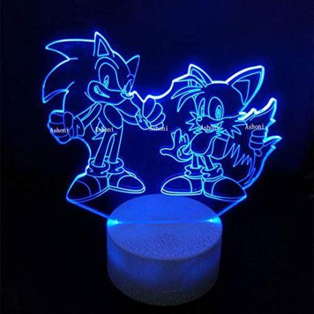 CFLEGEND-Son-Action-Figure-3D-Bureau-Led-Lumire-Led-Changer-Anime-Hrisson-Sonic-Mile-Modle-Jouet-clairage-Dcor–La-Maison-Cadeau-De-Nol