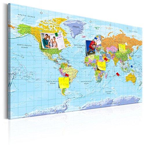 murando Mappa del mondo per il fissaggio puntine & Quadro su tela 120x80 cm 1 Parte Pannello di...