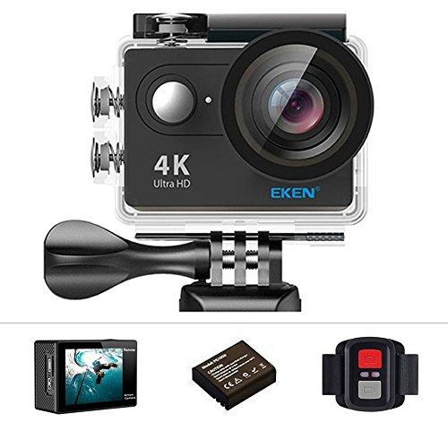 Eken H9R Action Camera 4 K Ultra HD 12 MP WiFi sport fotocamera subacquea 30 m 170 gradi obiettivo grandangolare 5,1 cm LCD screen 2.4 G telecomando impermeabile pacchetto di e kit di accessori, Nero