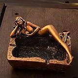 Shopffiy Kreatives Retro Meerjungfrauaschenbecher Personalisiertes Handwerksgeschenk (Color : Gold)