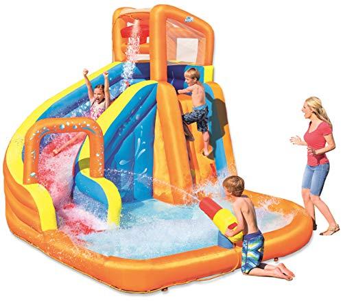 Bestway H2OGO! Wasserpark Turbo Splash, Planschbecken mit Wasserrutsche und Kletterwand, 365x320x275 cm
