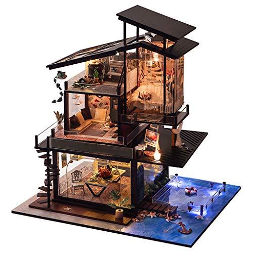 TwoCC Giocattolo della novità del capretto, mobili in casa 3D in legno fai da te in miniatura puzzle casa decorata regali creativi