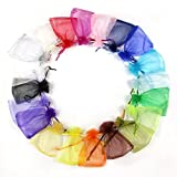 100pcs Organza Jewelry Packing Pouch Wedding Favor Gift Bags (7*9cm, misto)