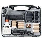 wolfcraft Universal-Meisterdübler-Set 4645000 | 78-teiliges Komplett-Starter-Set zur Herstellung von sauberen Holzverbindungen mit Ø 6, 8 und 10 mm Holzdübeln