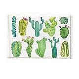 Alfombra Cactus Con Acuarela En Varios Tonos De Verde