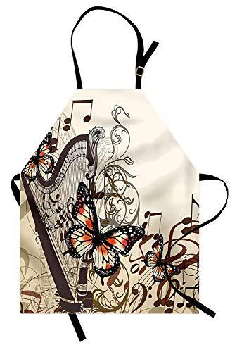 Delantal de mariposas, adornos de arpa y tema clásico de concierto de instrumentos musicales de mariposas, Delantal de cocina unisex con cuello ajustable para cocinar Hornear Jardinería, Negro anaranj