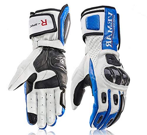 Vemar Guanti Moto Professionali in Pelle Motocross Racing Pista protezione Carbonio (XL, Blu)