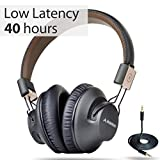 Avantree Audition Pro 40 Horas Aptx Baja Latencia Auriculares Inalambricos para TV PC, Plegable Cascos Bluetooth de Diadema con Micrófono, Cómodo Hi-Fi Sonido Estéreo Audífono para Moviles Música