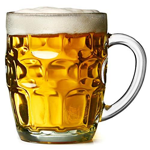 The Great British Pint dimple mug–Set di 4boccali di vetro, in confezione regalo, ideale...