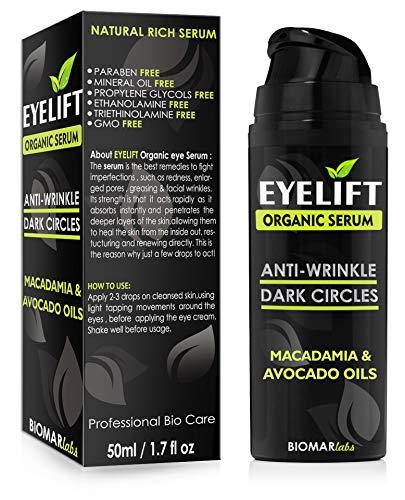 EYELIFT Bio Siero Viso 100% Organic Idratante Siero Rassodante, Riducendo Rughe e Occhiaie, Occhi...