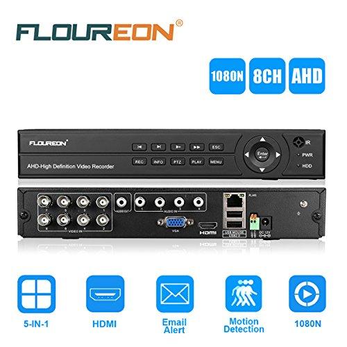 FLOUREON Videoregistratore DVR Recorder per Telecamere (8 Canali 1080N, ONVIF, HDMI, P2P, H.264) Supporta TVI/CVI/AHD/Analog/IP Camera