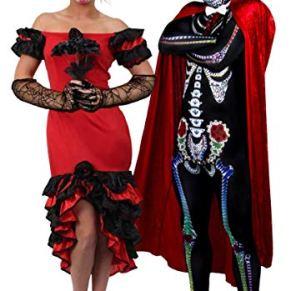 ILOVEFANCYDRESS Pareja de Disfraces de Día de los Muertos para Hombre y Mujer (Ladies: X-Large & Mens: X-Large)