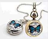 Honeysuck moda donna rotonda farfalla musica orologio da tasca collana