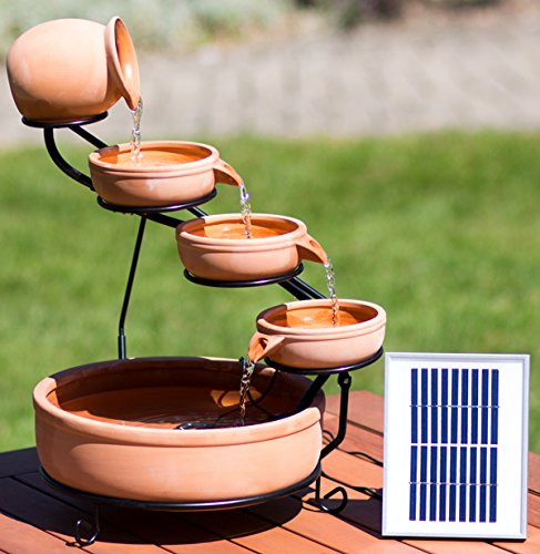 Solaray Real Terracotta Solar 4 Tier Cascade Light Brown Water Feature with Battery Backup and LED Lights Review.