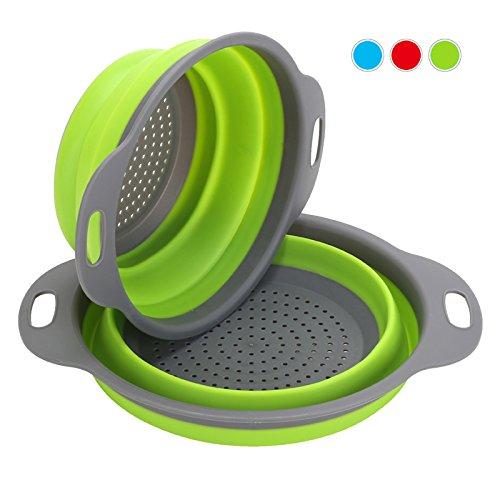 Colador de cocina plegable, 2 piezas de filtro de silicona para verduras o frutas Incluye 2 tamaños 8 y 9,5 pulgadas de cesta de filtro Por OYSHOPP (verde)