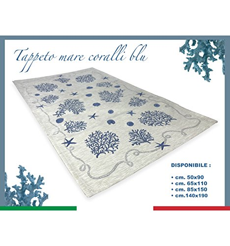tex family Tappeto Mare Marino Coralli Azzurro Blu - Cm. 60x110