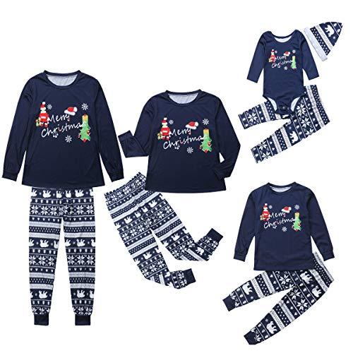 douleway Coincidencia de la familia de 2 PC de Santa Claus de Navidad Juegos de impresión pijamas para Hombres Blue-santa BABY 12-18M