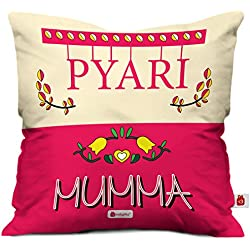 Indigifts Micro Satin, Fibre Pyari Mumma Printed Cushion Cover with Filler for Mother (12x12-inches, Pink)