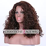 Chantiche Chocolate Brown Curly Wigs for Black Women Long Natural Looking Light Brown Highlights Best Synthetic Wig uk with Free Wig Caps Colour #30