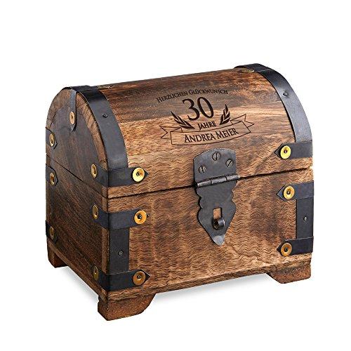 Casa Vivente Schatztruhe mit Gravur - Zum 30. Geburtstag - Personalisiert mit Namen - Aufbewahrungsbox aus dunklem Holz - Verpackung für Geld und Gutscheine - Geschenkidee für Männer und Frauen