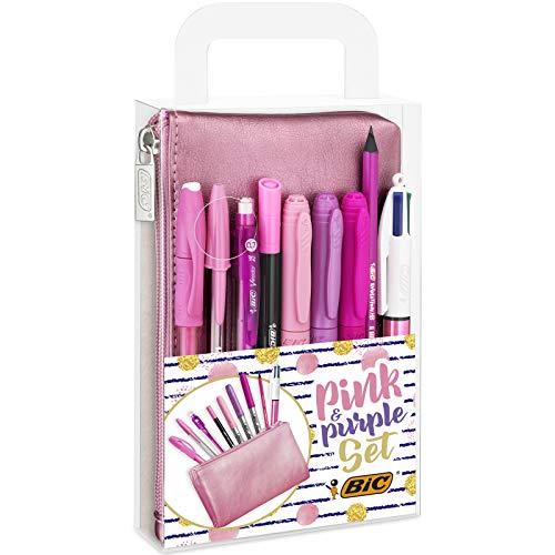 BIC Pink & Purple Set - 1 Astuccio, 2 Penne a Sfera/1 Penna Correttore Gel/1 Matita Grafite con...