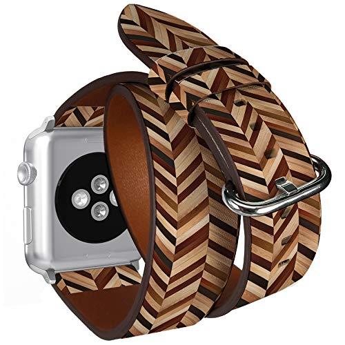 Compatibile con Apple Watch da 38 mm e 40 mm, doppio rotolo, cinturino in pelle con adattatori in...