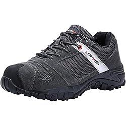 LARNMERN Chaussures de Sécurité pour Homme,LM-18 Embout en Acier Antidérapante Chaussures de Travail Respirant Confortable (47 EU, Gris)