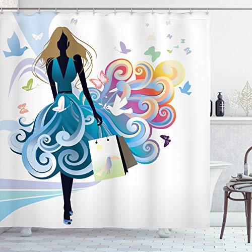 ABAKUHAUS Contemporáneo Cortina de Baño, Silueta de Jóven Mujer con Bolsas de Compras Falda Fantasía Mariposas Moda, Material Resistente al Agua Durable Estampa Digital, 175 x 200 cm, Multicolor