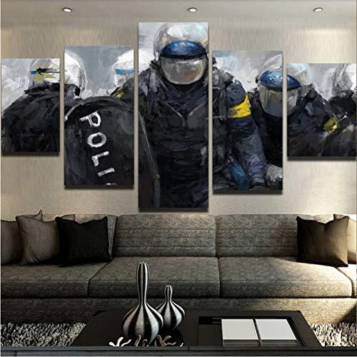 ZKLIB HD Imprimir Pintura de la Lona Decorativa Casera 5 Panel de Policía Cuadro de la Pared Art Prints Paneles Cartel para la Sala de Estar