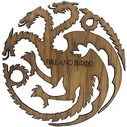 "De Juego De Tronos Casa Targaryen ""Fuego y Sangre de madera"" Cabeza de tres Dragon Sigil, 23cm x 23cm"