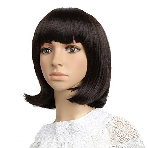 Hairby Bobo Peluca Corto y Completo de Alta Calidad Resistente al Calor de Cosplay Cabello Sintética 12 '' con el Casquillo de la Peluca para Mujeres Natural como Pelo Real, Color Marrón Oscuro