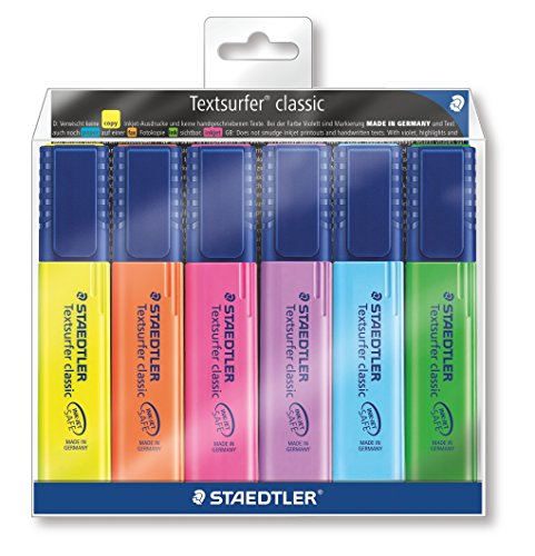 Staedtler Textsurfer Classic 364 WP6 Highlighter Pen - Multicolor Body, Multicolor Ink, Pack Of 6