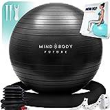 Ballon de Gym ou Swiss Ball. Idéal pour Yoga, Fitness. Robuste, Antidérapant, Hypoallergénique - 65 cm. Livré avec Base et Pompe. Noir