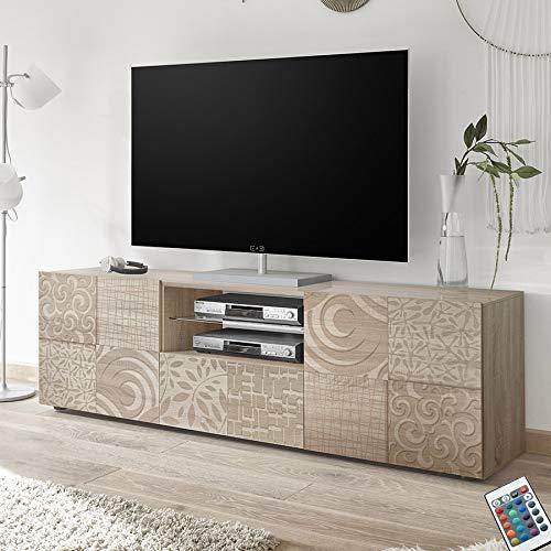M-012 Mobile TV Grande 180 cm Contemporaneo Rovere Chiaro ELMA 3, Beige, L 181 x P 42 x H 57 cm
