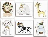 Juego de 6 impresiones tribales con diseños de animales de la jungla para colgar en la pared de la habitación de los niños (149 x 203mm), 203 x 254mm (8'x10')