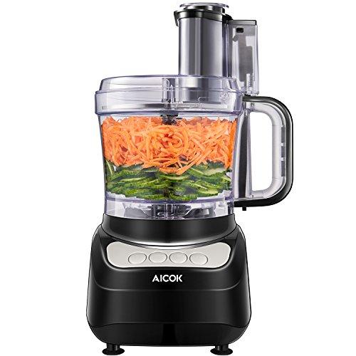 Elektrische Reibe, Aicok Food Processor, 1.8 Liter Fleisch Zerkleinerer, Gemüse Elektrisch und Umrühren, Küchenmaschine Zerkleinerer mit Drei Geschwindigkeit Optionen kann Hackfleisch, 500W, Schwarz