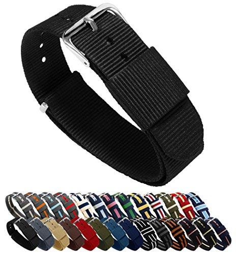 Barton, cinturino per orologio, in nylon balistico (18 / 20 / 22 / 24 mm), unisex, Black, 24mm - Long (11')