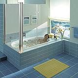 Melko Duschabtrennung Badewannenaufsatz aus 5 mm ESG Sicherheitsglas, faltbar, 68 + 120 x 140 cm, Klarglas, inkl. Zubehör