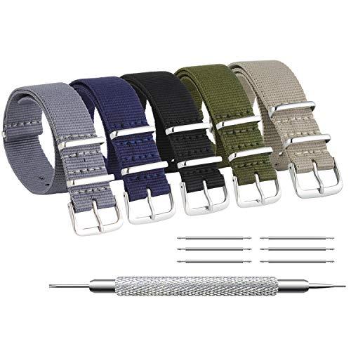 ZHUGE Unisex nylon cinturino orologio multicolor Balistico Cinturino Nato Cinturino in Nylon 5 pezzi in tinta unita 22mm