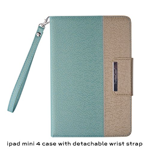 iPad Mini 4 Case,Thankscase Rotating Case Cover for Ipad Mini 4 with Wallet and Pocket with Hand Strap with Smart Cover Function for iPad Mini 4 2015 (Gold Jade)