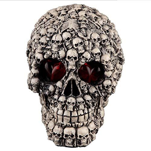 XIAHE Decoración De Hueso De Halloween Decoración del Cementerio Fuentes De La Fiesta Parodia Persona Entera Apoyos Luminosa Resina Azada (Color : Full of Heads)