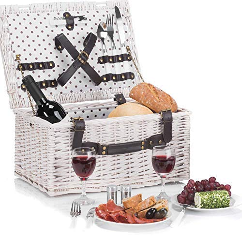 Goods & Gadgets Weidenkorb Picknickkorb aus Weide mit Picknick Geschirr, Besteck, Gläsern, Korkenzieher