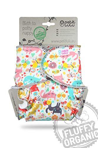 Petit Lulu Pannolino Mutandina Maxi Bambù Fitted Notte | Bottoni | Fluffy Organic | Pannolini di stoffa | Riutilizzabile e lavabile | Pannolini lavabili | Prodotto in Europe (Cat Meadow)