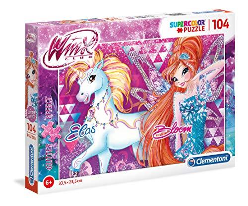 Clementoni-Clementoni-27107-Glitter Puzzle-Winx-104 Pezzi, Multicolore, 27107