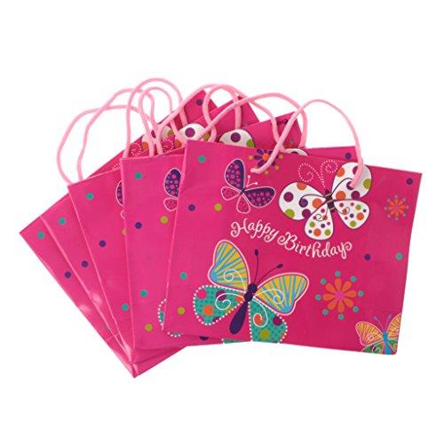 Sharplace 5 Piezas Bolsas de Regalo con Manija de Papel Favores de Cumpleaños Fiesta de Niños Bebé - Mariposa