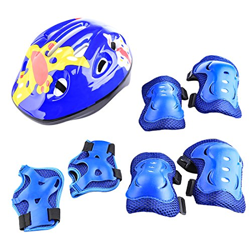 LVPY Set di casco protezione bambini,7 in 1comprende casco, gomitiere, ginocchiere, ideali per...