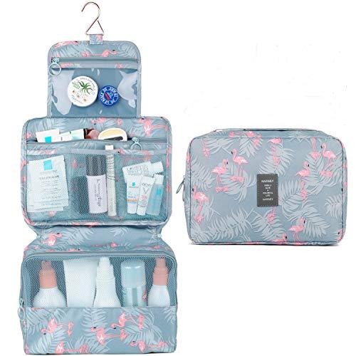 Hängende Reise Kulturbeutel Kosmetik Make-up Veranstalter Badezimmer für Kinder Mädchen Frauen (Flamingo-1)