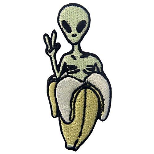 ZEGIN Toppa ricamata da applicare con ferro da stiro o cucitura, tema: Alieno di Banana